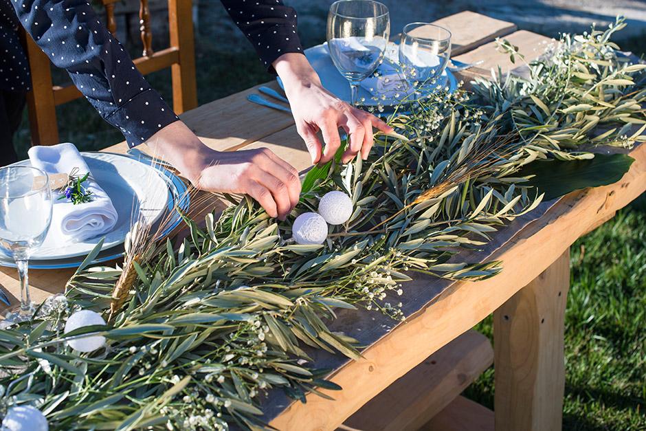 mesa presidencial decoracion rama olivo