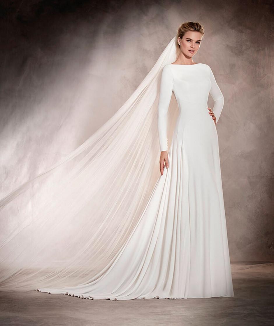 vestido novia minimalista manga larga