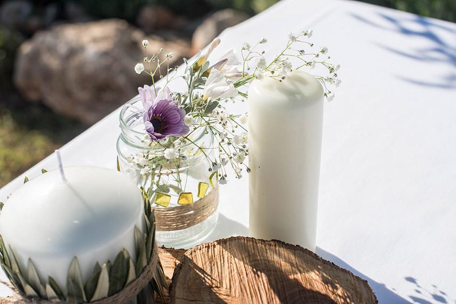 decoracion altar boda tarro cristal