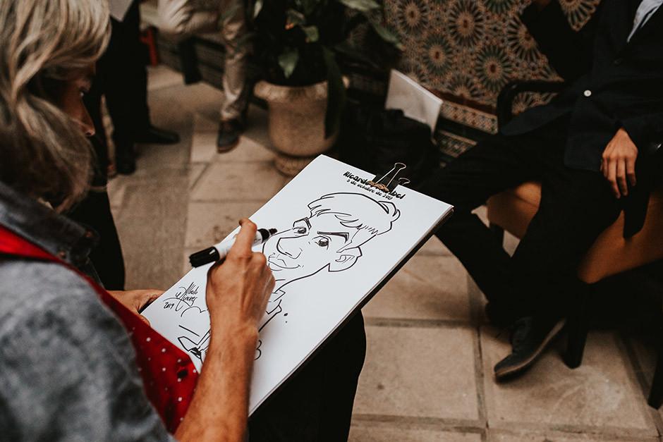 caricaturista boda