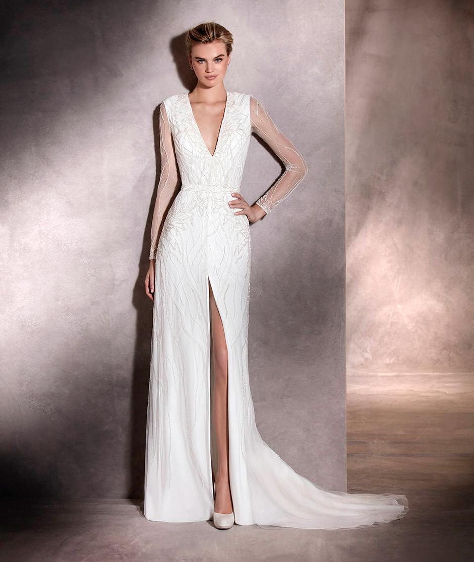 vestido novia abertura lateral escote uve