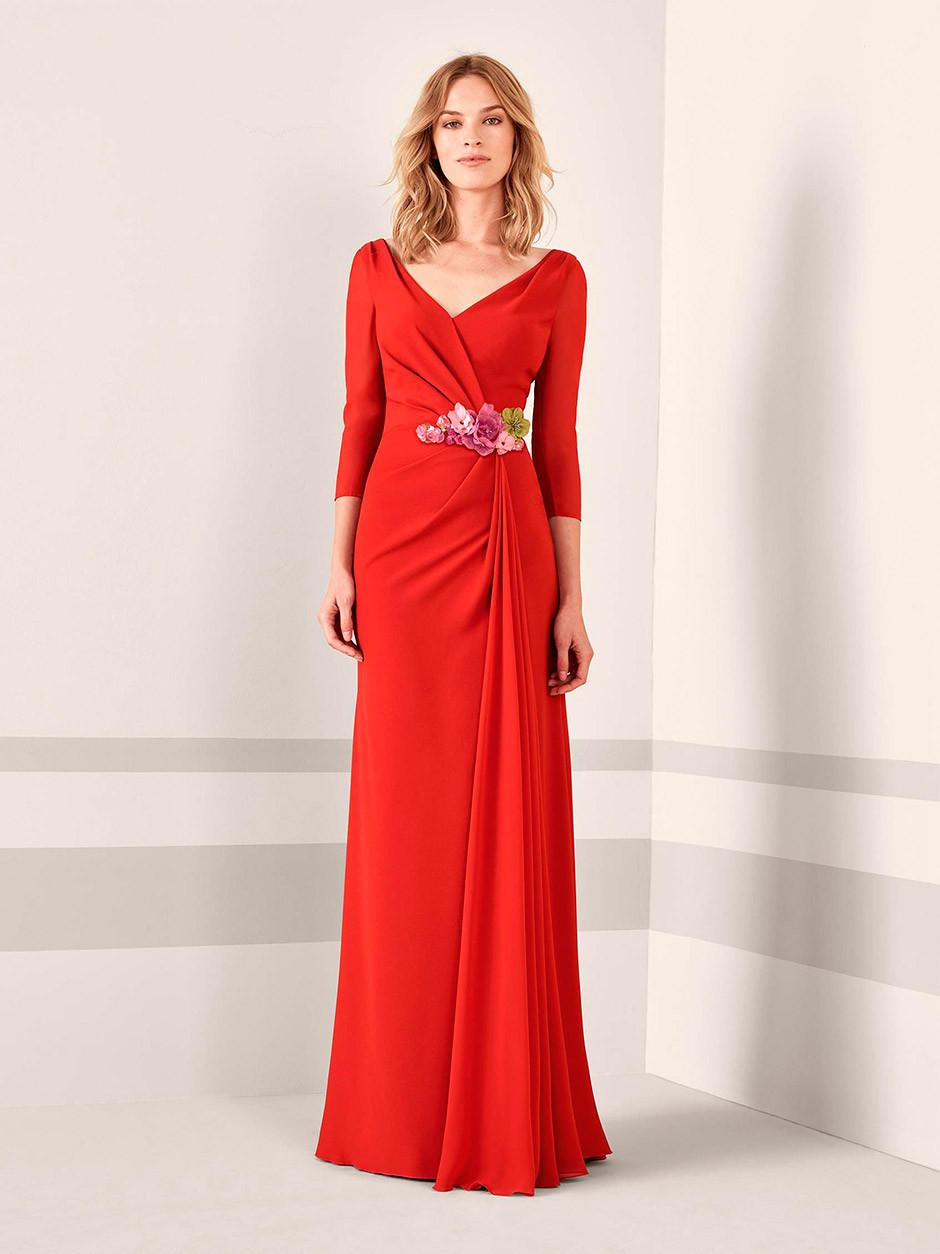 vestido fiesta boda roja