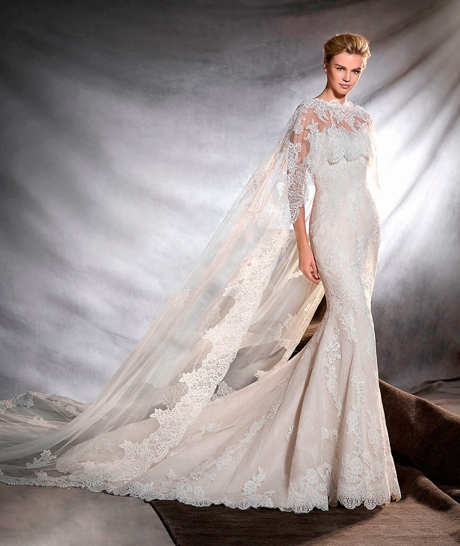 vestido novia corte sirena encaje capa