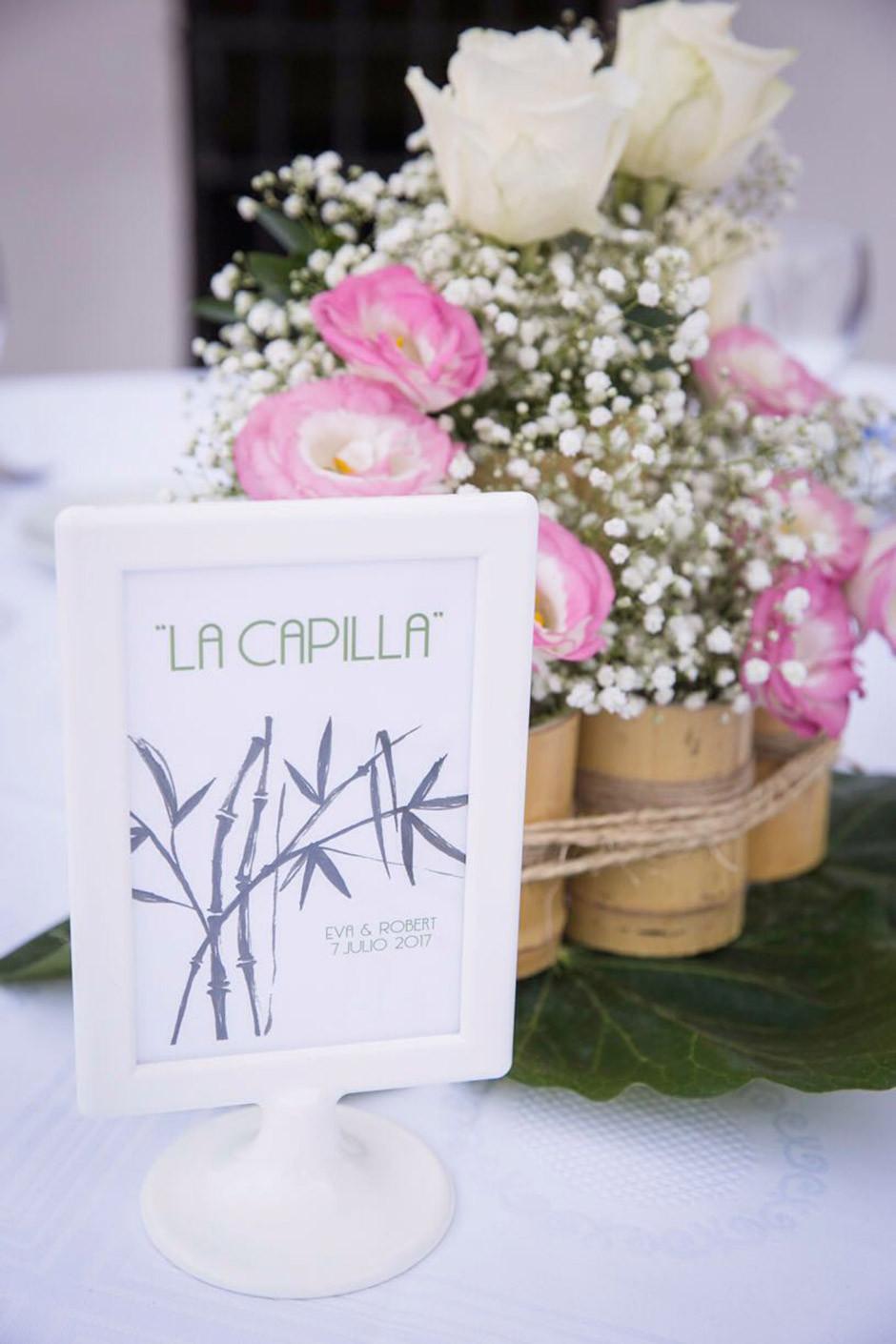 centro mesa boda bambú