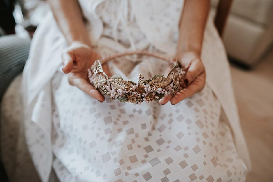 tocado novia corona
