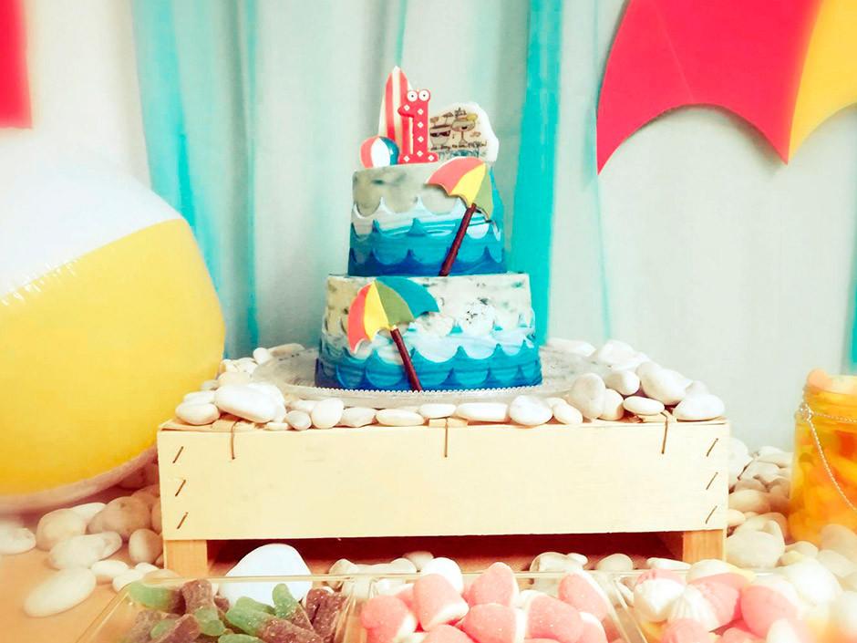 tarta cumpleaños playa