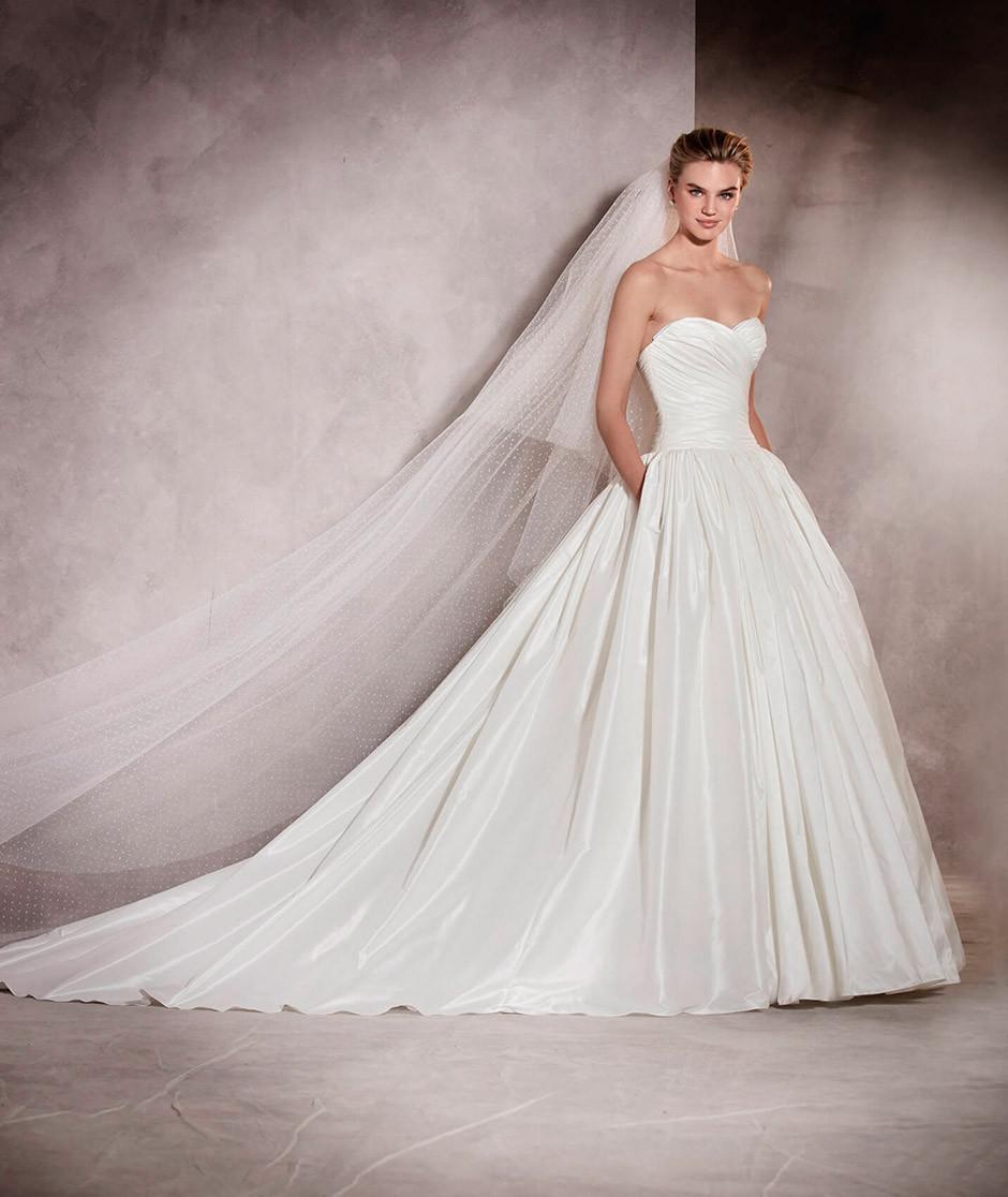 vestido novia corte a escote corazon