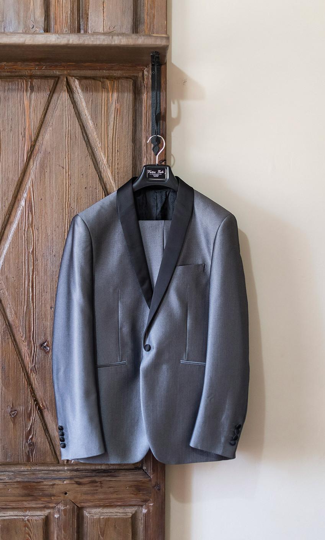 chaqueta  traje novio gris