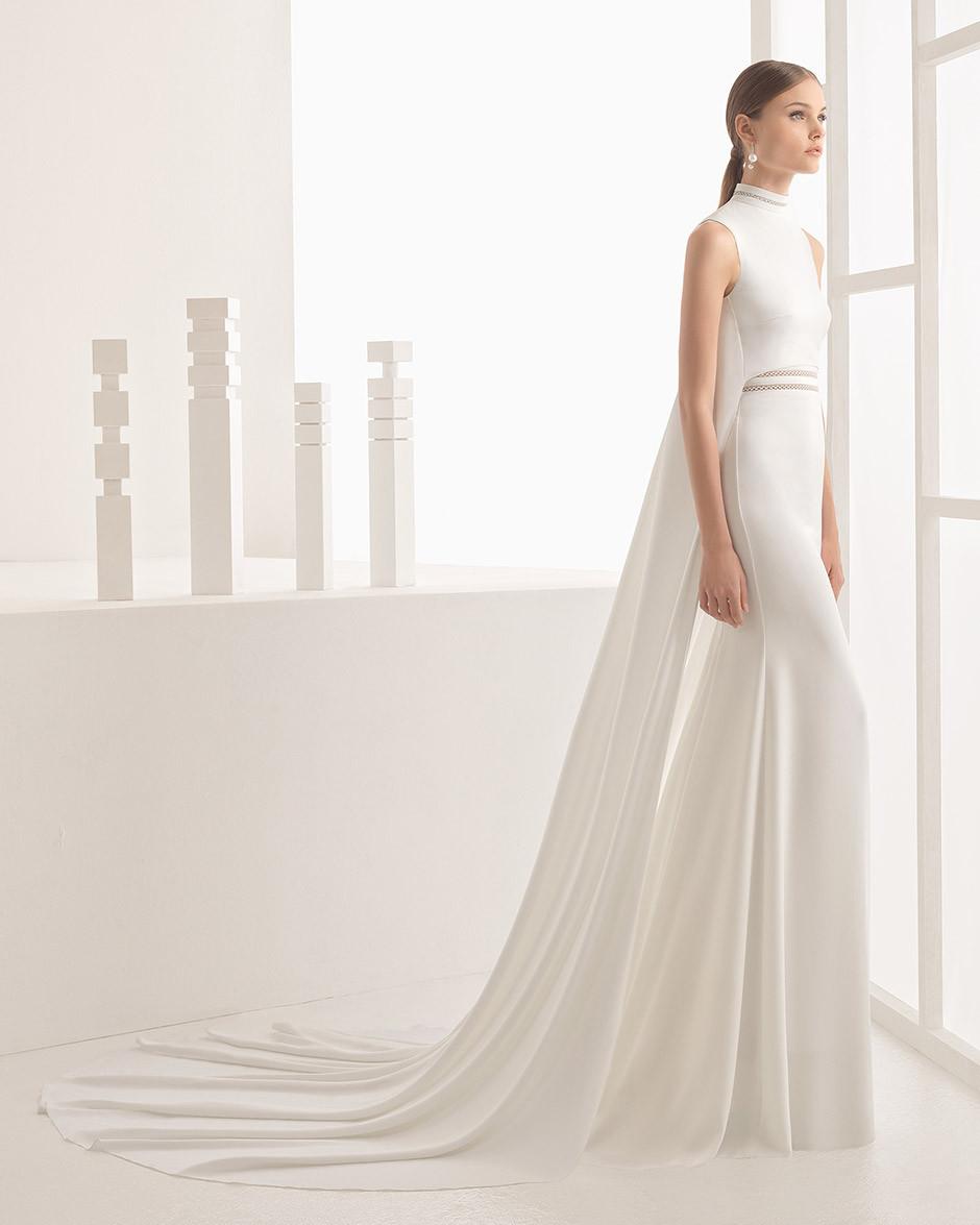 vestido novia minimalista capa
