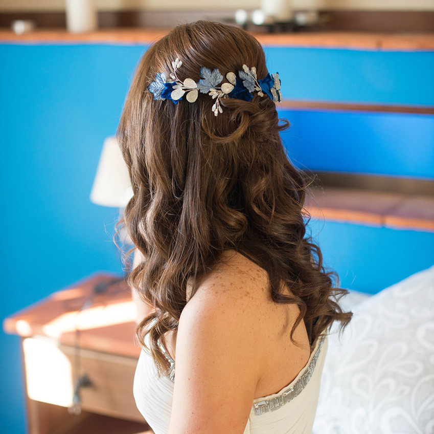 tocado novia tonos azules