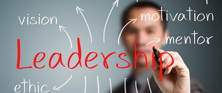 business man writing  leadership concept