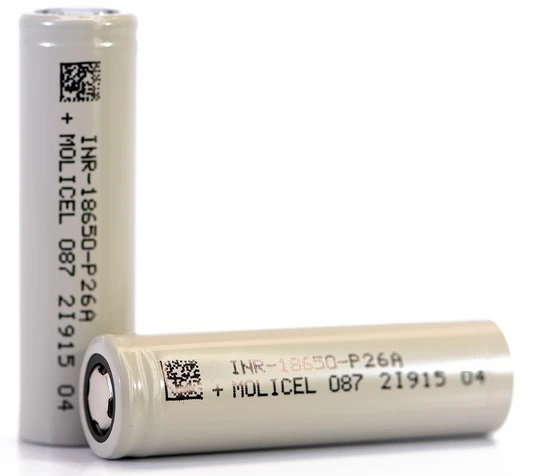 Molicel P26A 18650, 25 Amp, 2600mAh