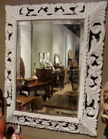 Painted French Oak Carved Mirror
