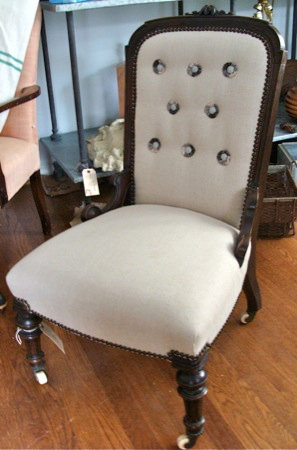 Victorian Rosewood Frame with Custom Upholstery and Nailhead Trim.