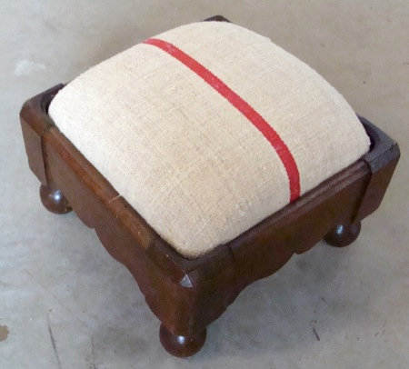 Small Antique Footstool with French Fabric