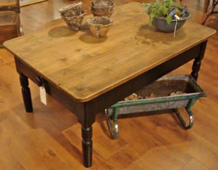 English Pine Farmhouse Table cut down for Coffee Table
