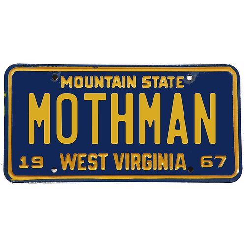 West Virginia MOTHMAN – Limited Edition Metal Stamped Replica License Plate