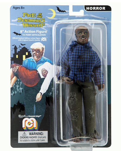 "Mego – Face of the Screaming Werewolf Wolfman 8"" Clothed Action Figure"