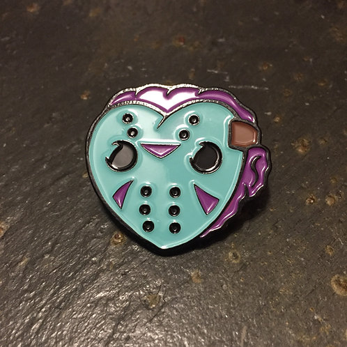 I Heart 8-Bit Jason Voorhees Enamel Pin