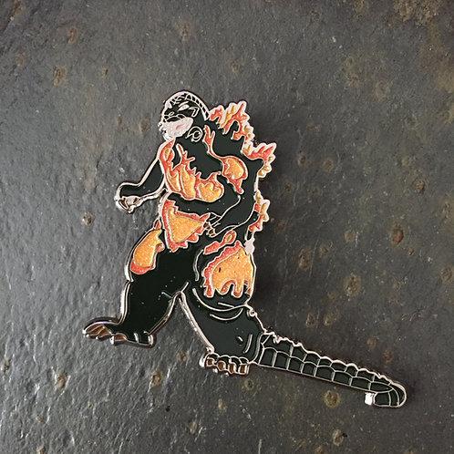 Flaming Godzilla Oversized Enamel Pin