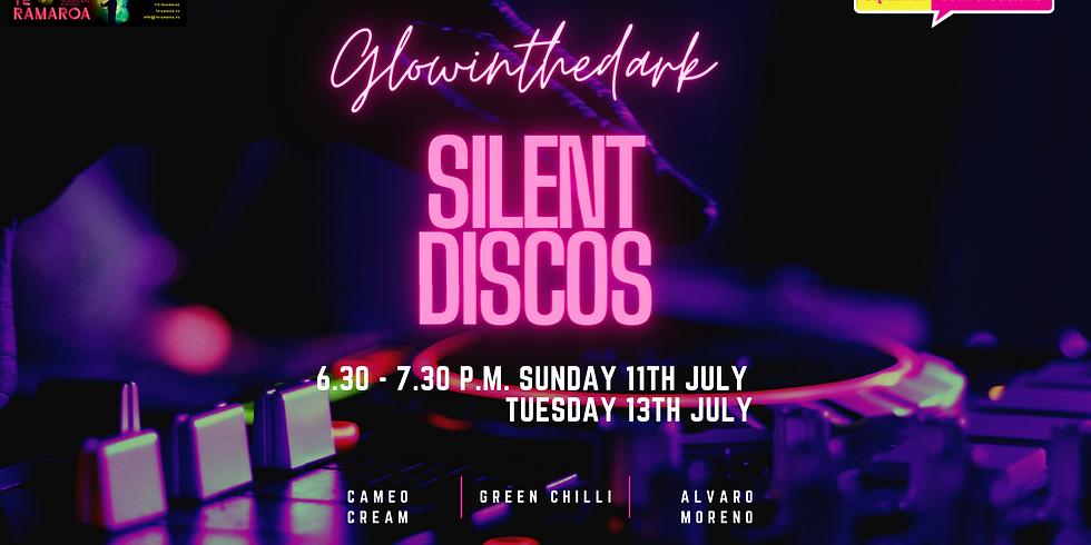Sunday Glow in the dark silent disco at Te Ramaroa with DJ's Cameo Cream and Green Chilli