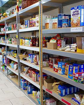 Mason Food Pantry shelves