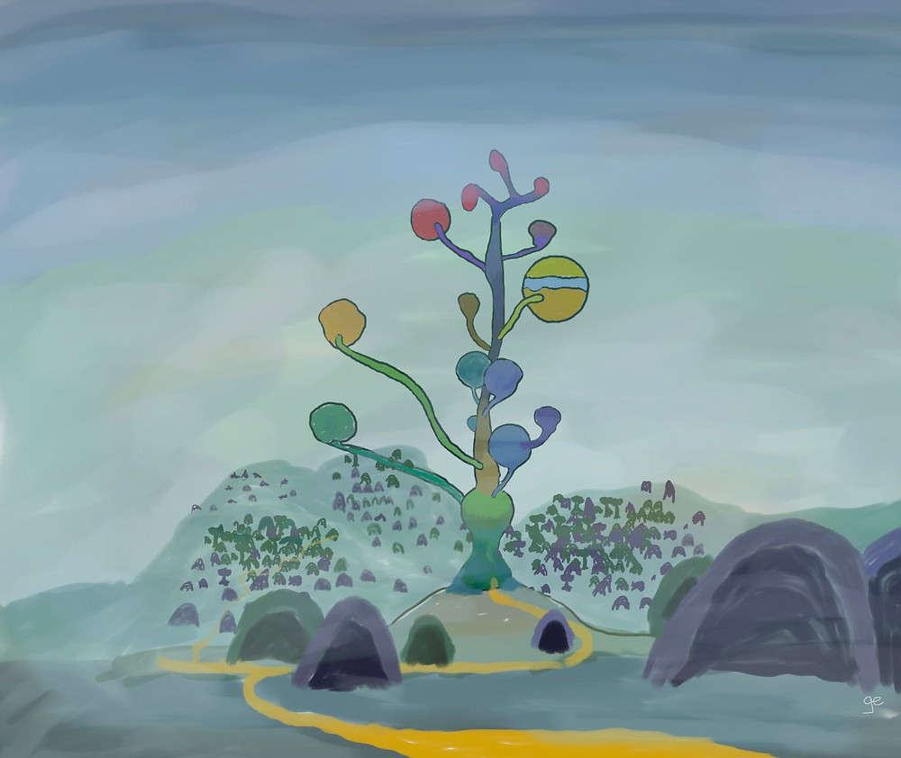An underwater city consisting of small inverted conic structures scattered across the seabed and surrounding a central temple, the Gongjid, consisting of a stem-like structure and bubble-chambers that float upwards. The houses are one of two colours, purple or green, while the temple itself consists of many different colours.