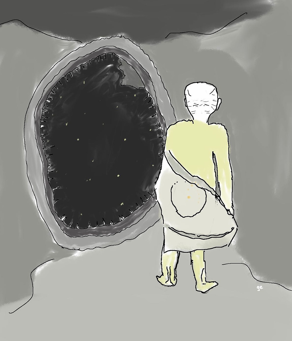 « Joh clambered through the access portal, holding hir slight body away from the soft walls, her frame still wrapped in the yellow splattered flag of DeoFax, now both dirty and rumpled. » Excerpt from Plenum