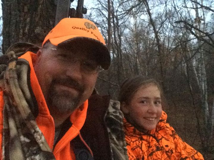 Facebook - My little baby girl Emma Ann on her first Whitetail hunt behind ole p