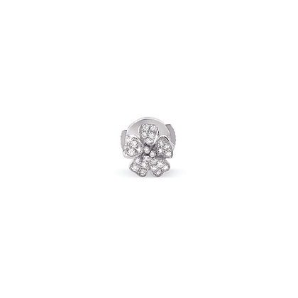 white cherry blossom small flower ear stud front view