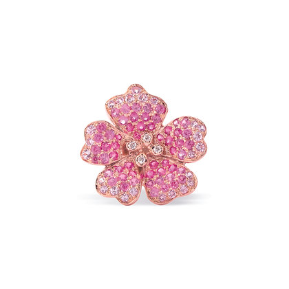 pink cherry blossom large flower ear stud front view