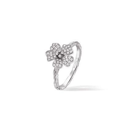 white cherry blossom medium flower ring