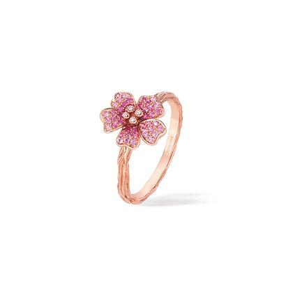 pink cherry blossom medium flower ring