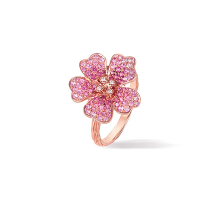 pink cherry blossom large flower ring