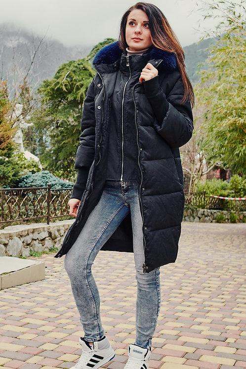 Женская зимняя удлиненная куртка Scanndi finland DW19048 (темно-синий)