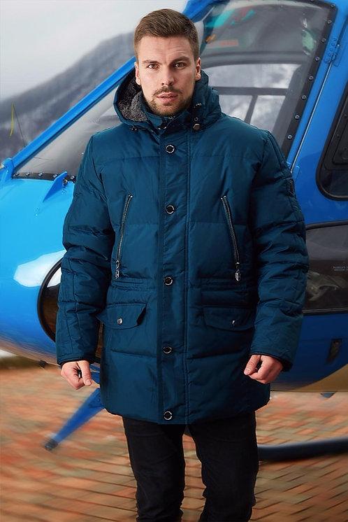 Удлиненная зимняя мужская куртка, аляска Scanndi finland DM19013 (темная бирюза)