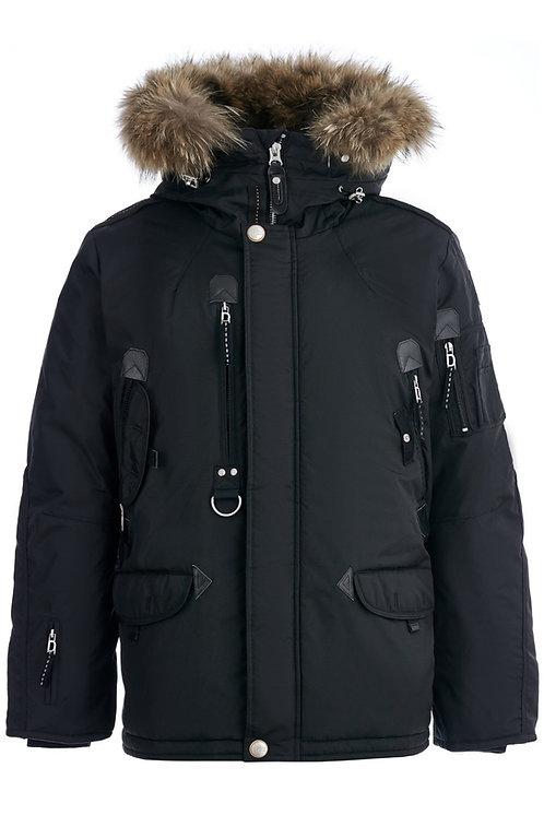 Удлиненная мужская зимняя черная куртка, аляскаScanndi finland DM19098a