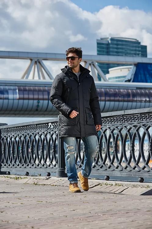 Мужское зимнее финское пальто-пуховик Scanndi finland DM19021b (черный)