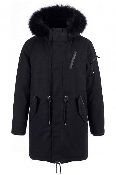 Удлиненная куртка,парка Scanndi finland DM19011 на меховой подстежке (черный)