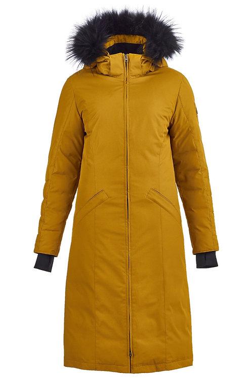 длинное пальто со съемным капюшоном Scanndi finland DW19032a (горчица)