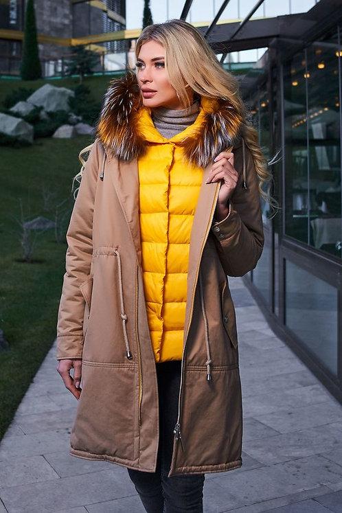 Женскоезимнее пальто Scanndi finland DW19004 (песочный)