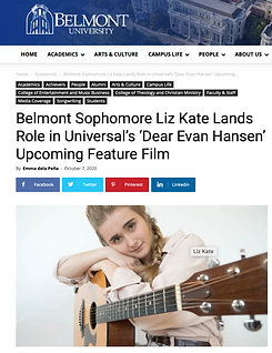 Belmont Sophomore Liz Kate lands Role in Universal's 'Dear Evan Hansen' Upcoming Feature Film