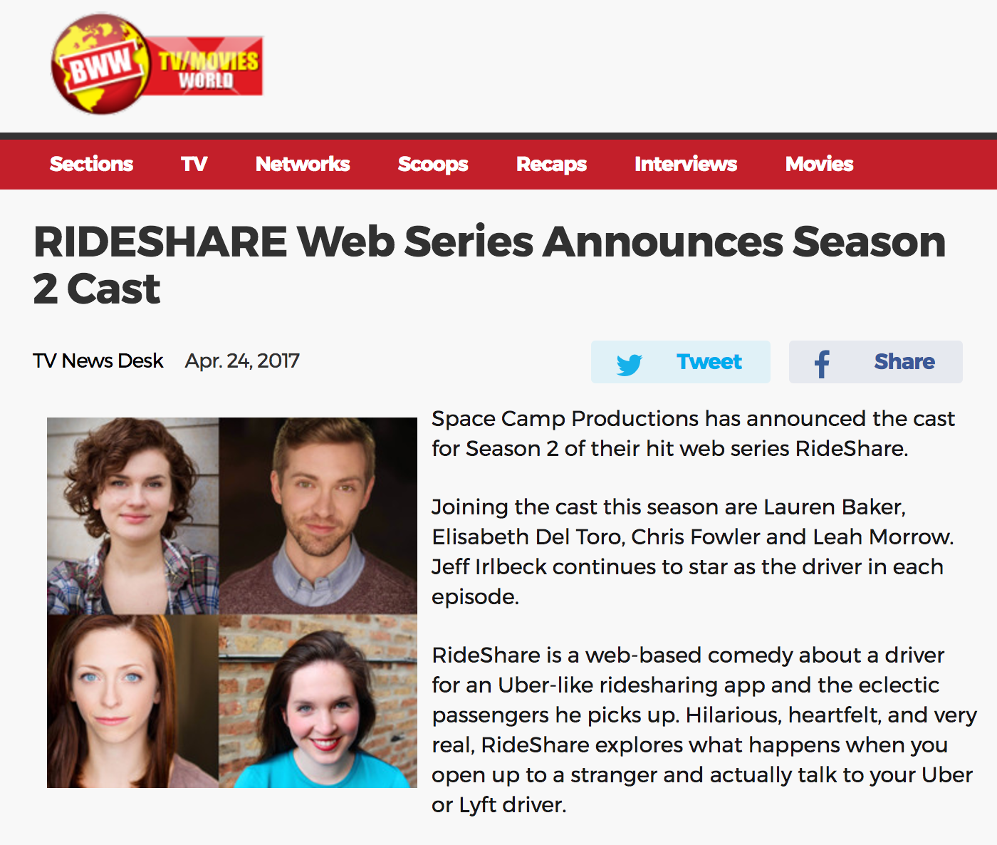 RIDESHARE Web Series Announces
