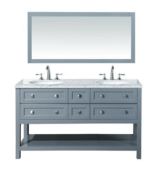 "Marla 60"" Double Sink Vanity with Mirror in Grey"