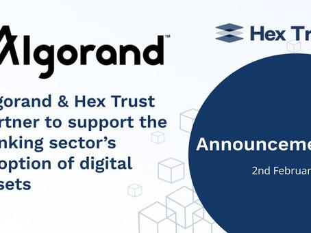 アルゴランドとHex Trustが提携し、銀行部門のデジタル資産導入を支援