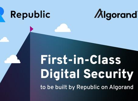 投資プラットフォームのリパブリック(Republic)、アルゴランド上で「デジタル証券」発行へ