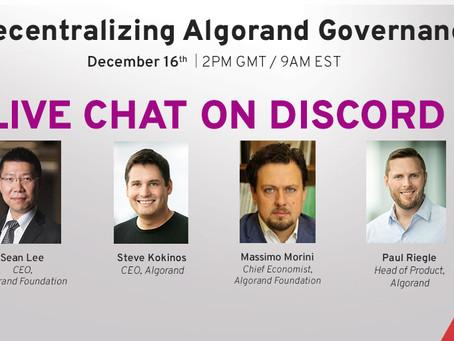2020年12月16日(水)23時(日本時間)アルゴランドのガバナンス分散化: Discordライブチャット