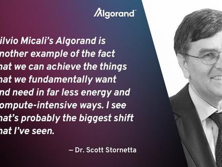 「ブロックチェーンの父」と称されるスコット・ストーネッタ博士のインタビュー記事の中で、アルゴランドが言及されています。