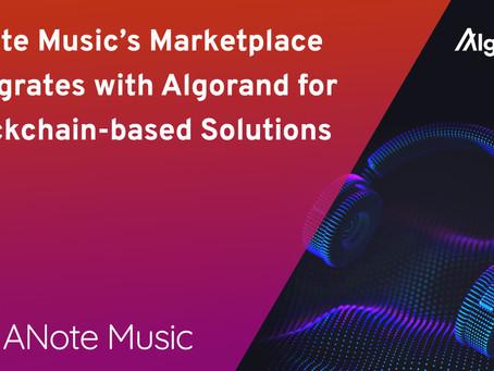 ANote Musicのマーケットプレイスにアルゴランドが統合。クリエイターの活躍の場が広がり、NFTも登場。