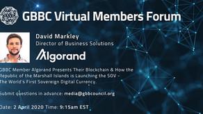 GBBCバーチャル・メンバーフォーラム:アルゴランドと中央銀行デジタル通貨(CBDC) 2020年4月2日22時15分~